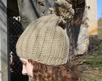 Ribbed Pom Hat, Cozy Winter Hat, Crochet Hat