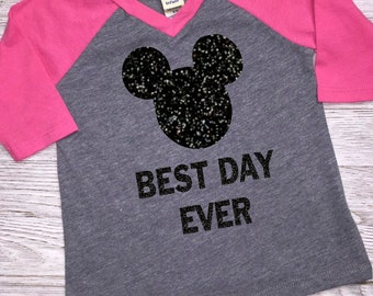 Girls Disney Vacation Shirt | Raglan Tee | Best Day Ever | Disney Cruise | Mickey Mouse Shirt | Disney Trip | Mickey Birthday | Disney World