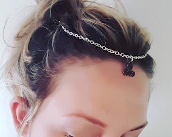 Triple spiral head chain - silver headband - goddess - druid - paganism - wicca - witchy jewelry - festival fashion - faerie - heathen