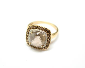 14k Yellow Gold Smoky Quartz and Diamond Ring, Cushion Cut Smoky Quartz Ring, Gold Quartz Ring, Smoky Quartz Halo Ring with Diamonds