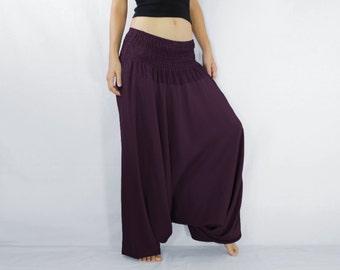 Burgundy Women Convertible Jumpsuit Harem Pants / Music Festival Pants /  Yoga Pants - CP PNT005