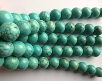 """12mm Turquoise Dyed Howlite 7"""" Strand"""