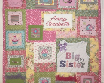 Memory Quilt, Wall Hanging Memory Quilt, Baby Clothes Quilt, Memory Blanket, Personalized, Custom Baby Clothes Quilt