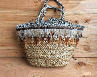 Woven Straw Beach Bag with Cheetah Print Detail // Feathered Leopard Print Wicker Straw Beach Tote Bag