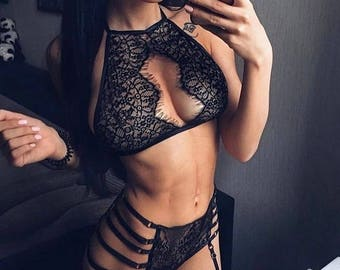 Strappy lingerie set See through lingerie Erotic bralette Sexy lingerie set Sheer bralette Gifts for her Honeymoon lingerie Black sheer lace