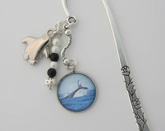 Whale Bookmark, Page-marker, Whale Tail Flukes Shepherds Hook Book marker, Bookmark