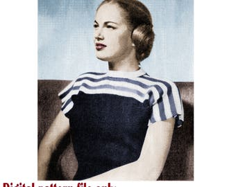 PDF 1940s Slip On Knitting Pattern, Ladies Jersey Knitting Pattern, Ladies Blouse Knitting Pattern, Womens Knitting Patterns, Vintage PDF