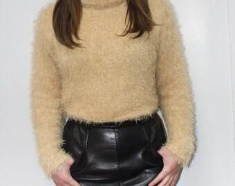 Fluffy Fuzzy Soft Sweater Turtleneck Yellow Mustard Grunge Vintage 90s Long Sleeve Small Medium