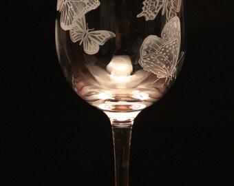 Butterflies engraved Wine Glass