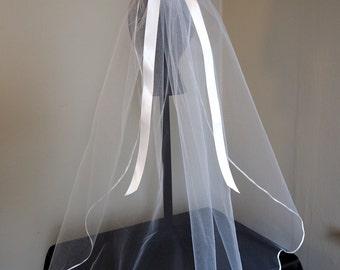 Satin ribbon veil - for bridal veil, communion veil, flower girl veil