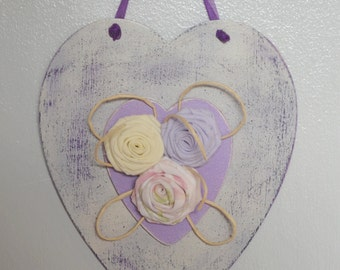 Wooden Heart Wall Hanging Plaque Rolled Fabric Flowers Cottage Chic Decoupge