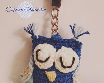 OWL amigurumi crochet worked keychain