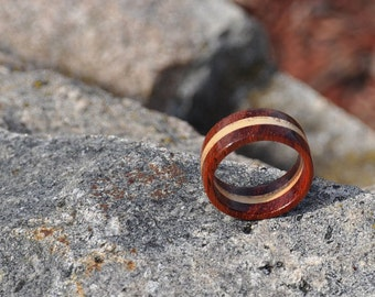 African Padauk and Ash Wood Ring, Natural Wood Ring, Mens Wood Ring, Womens Wood Ring, Wood Jewelry