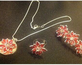 Red rhinestone jewellery and hair clip set
