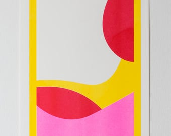 Abstract RISO print A3 with fluorescent neon pink