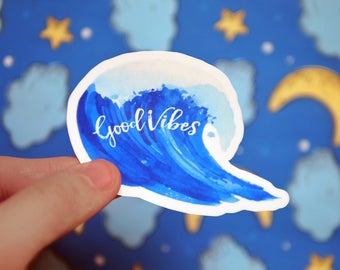 Good Vibes Surfing Beach Waves Sticker - Surf Decals - Beach Life - Notebook - Laptop Stickers - Good Vibes Only - Hawaii - S92