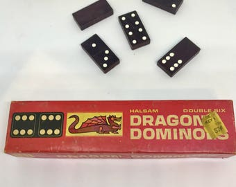 Vintage Wooden Dominoes Game, Vintage Dragon Dominoes, Halsam, No. 622, Double Six, 28 pieces