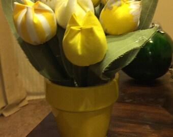 Handmade Fabric Tulips (Yellow)
