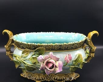 Planter porcelain barbotine majolica 1930 decor flower vase vintage turquoise and pink lesinsolitesdenini vase ceramic planter