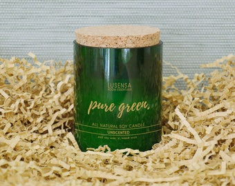 PURE GREEN | Soy candle | unscented | all natural - eco soy wax + wood wick