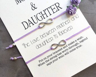 Mother daughter bracelet, Mother daughter wish bracelets, Mother daughter gift, Infinity bracelet, Mom and daughter, Mom daughter gift, A53