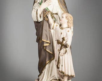 "18"" Large Antique Plaster Statue of Saint Joseph with Child Jesus Infant Vintage Religious Figure Holy Figurine 5"