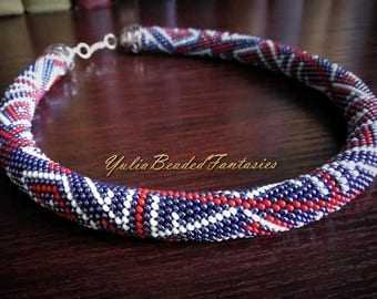 Dark blue beaded necklace / Beaded necklace / Beaded crochet necklace / Blue necklace / British flag / Blue Red White / Beaded rope / Casual