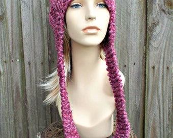 Strawberry Pink Pussyhat Ear Flap Cat Hat Knit Hat - Pink Hat Pink Beanie Pink Ear Flap Hat Pink Cat Hat Pink Pussy Hat - READY TO SHIP