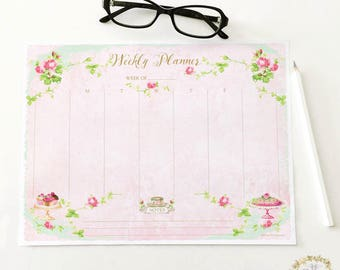 Weekly planner printable, instant digital download, Tea and cake with roses, shabby pink, Personal use only