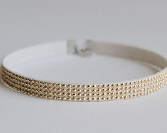 Gold Stud Choker Necklace / Sparkle Choker Necklace
