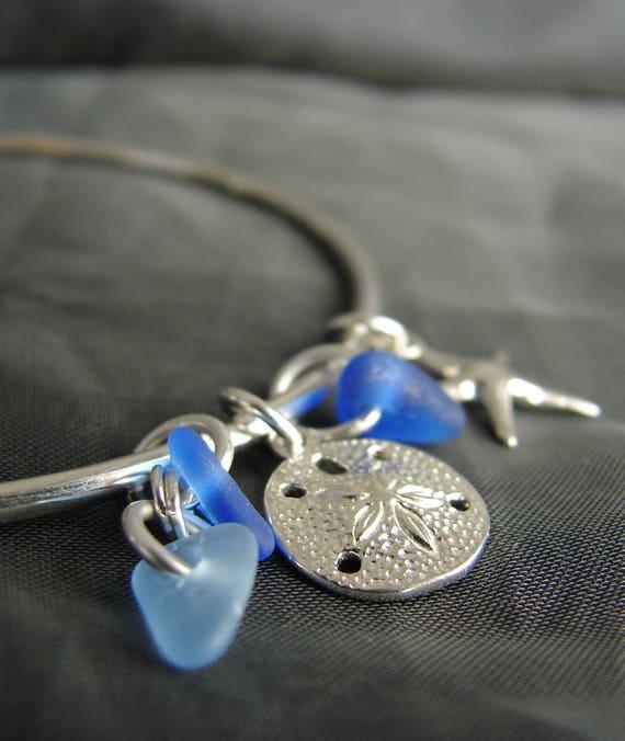 Ocean sea glass bracelet in blues