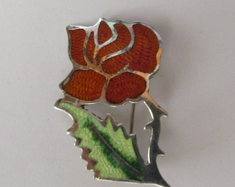 VIntage Sterling Mexican Enamel Fuentes Rose Flower Pin