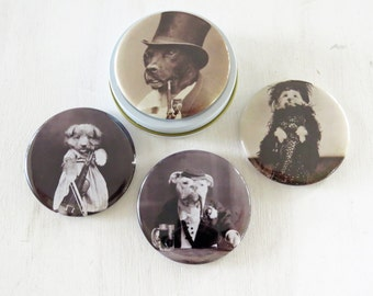 "Funny Dogs Magnet Set -  4- 2.25"" magnets Dressed up Vintage Dogs magnets in gift tin"