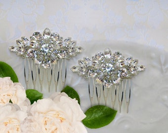 Small Wedding Hair Comb set, Clear Crystal, Rhinestone, silver,Hair Flower, Bridal Accessories, Bridesmaids Hair