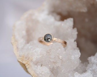 Rose cut diamond ring, grey diamond with small white diamonds and 14k solid gold engagement ring, wedding ring,  Rachel Wilder jewelry