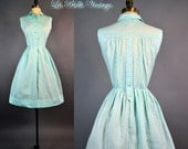Aqua Blue Sundress S M ~ Vintage 60s Floral Print Shirt Dress