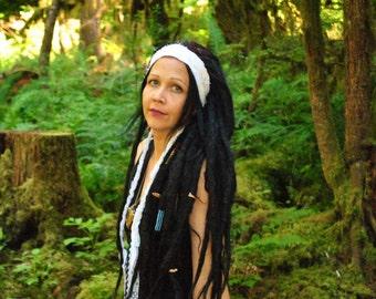 Interstellar Weave Headband, Dread wrap, CLOUD WALKER white Hippie Headband, Hair Wrap, Dreadlock wrap