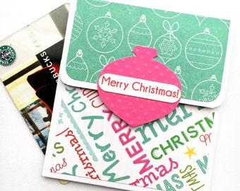 Christmas Gift Card Holder - Merry Christmas Holiday Tip Envelope, Money Card, Gift Card Sleeve, No Peeking til Christmas