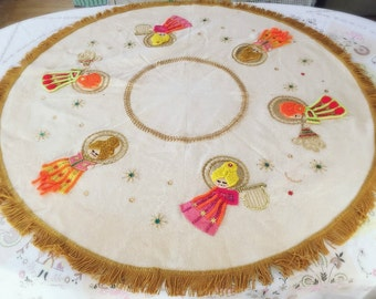 Vintage Christmas Angels Tree Skirt Tablecloth Round Fringed