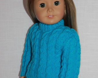 18 inch doll clothes, hand knit blue sweater with cables, Upbeat petites