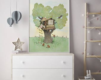 Tree house, Girls room decor, nursery wall art, girls room art, art for kids room, girls wall decor, wall art for girls, prints for girls