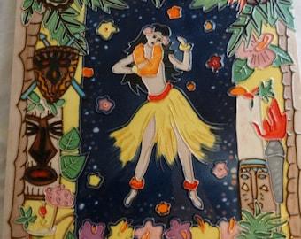 Welcome to Paradise Tile Wall Hanging, Hula Girl, Jungle, Luau, Flowers, Tropical Flowers, Lei, Palm Tree, Totem Pole, Hula Skirt
