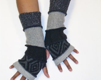 Fingerless Gloves, Armwarmers, Patchwork gloves (Light Grey/Black,Grey Diamond Pattern/Black/Medium Grey/Speckled Grey) by BrendaAbdullah