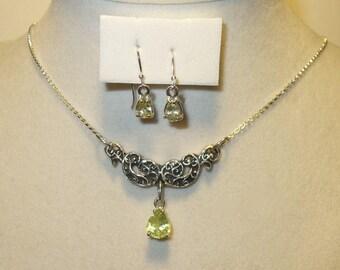 Natural Chrysoberyl Earrings &  Pendant Set -  Genuine Gemstones in Solid Silver