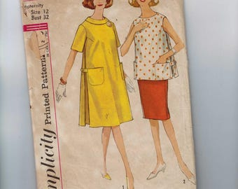 1960s Vintage Sewing Pattern Simplicity 4827 Misses Maternity One Piece Dress Top and Skirt Size 12 Bust 32 60s