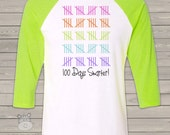 Teacher shirt - 100 Days Smarter - fun hundred day raglan shirt for teachers  TS100D