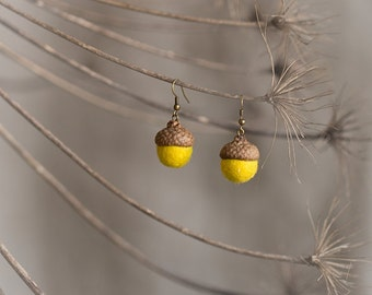 Dangle acorn earrings with real acorn cap and felted wool beads in bright yellow color - unusual brass jewelry