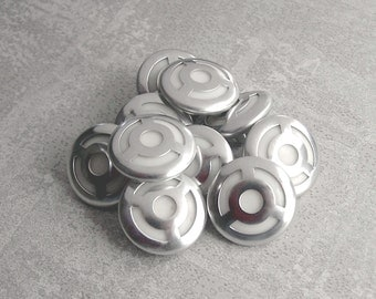 Pierced Silver Metal Buttons - CHOOSE 15mm 5/8 inch, 18mm 3/4 inch - NOS Silver Tone Mid-Century Art Deco Geometric Metal Buttons MT023