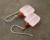 Hessonite Garnet and Pink Chalcedony Earrings