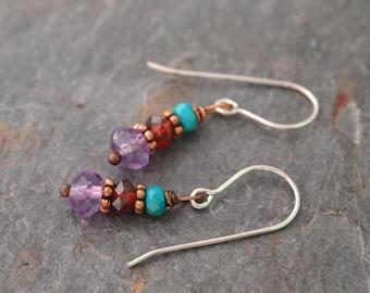 Turquoise, Garnet and Amethyst Earrings